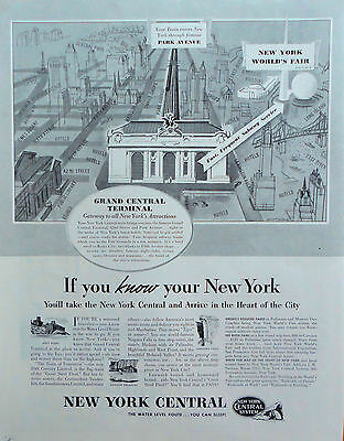 1939 ORIG. PRINT AD NEW YORK CENTRAL Grand Central Terminal gateway attractions