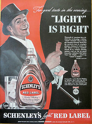 1939 ORIG.PRINT AD SCHENLEY'S WHISKEY gent ready for a night out on the town