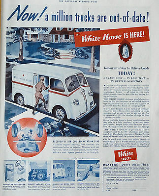 1939 Orig. Magazine Print Ad White Motor Co. The White Horse Is Here!