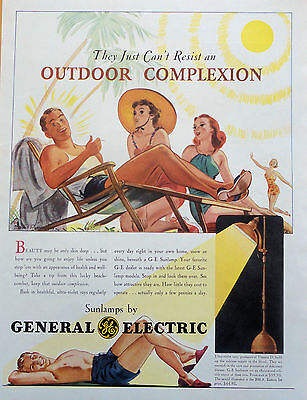1939 Orig. Print Ad General Electric Sunlamps Illus. By Robert Patterson