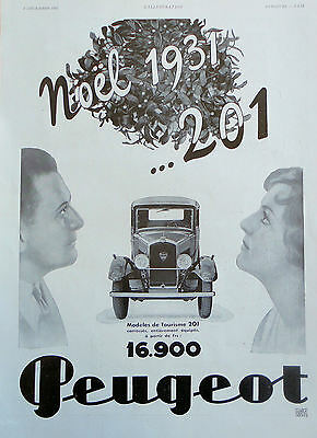 1931 ORIG. PRINT AD PEUGEOT 201 French Magazine holiday ad front view of car