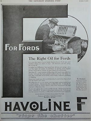 1922 ORIG. PRINT AD HAVOLINE F for Fords stops the chatter, putting oil in car