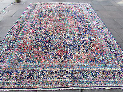 Old Shabby Chic Traditional Hand Made Persian Oriental Blue Wool Rug 355x255cm