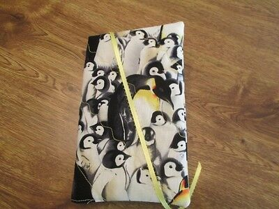 Danc'n Penguins Print Regular Size Paperback Handmade Quilted Book Cover