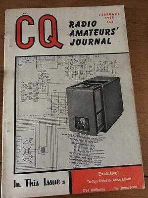 CQ Radio Amateur's Journal February 1955, intact, period advertising, nice