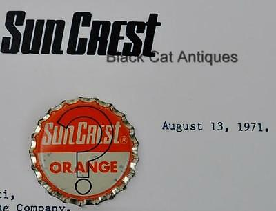 "SunCrest SODA POP Orange ""You Win One Pocket Radio"" Winning Crown & Letter NOS"