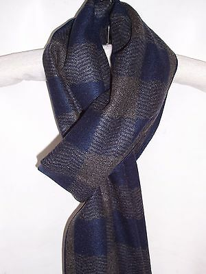 Mens Soft Cashmere Feel Scarf Navy Blue Grey Stylish Checks Frayed End