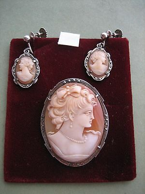 Vintage Marcasites and Silver set of Cameo Brooch and matching Earrings
