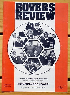 Doncaster Rovers v Rochdale 77/78 Mint