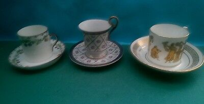 3 X Vintage Demitasse Coffee Cups/cans And Saucers - Halcyon Days