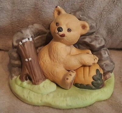Woodland Surprises Bear By Jacquelin Smith Hand Painted Franklin Porcelain