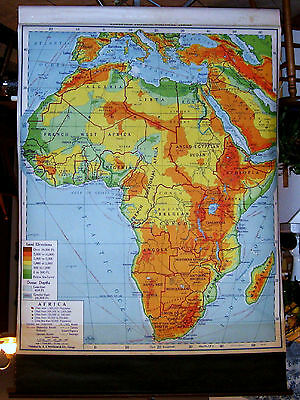 1950 A.J. Nystrom School Pulldown Map Of Africa