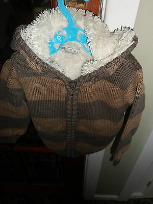Baby Boys Warm Jacket With Hood 12-18M Brand M&s Beige And Brown