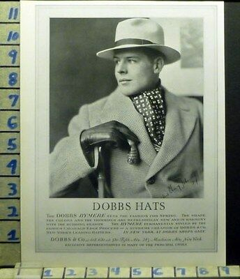 1927 Dobbs Hat York Style Man Handsome Fashion Designer Vintage Art Ad  As23