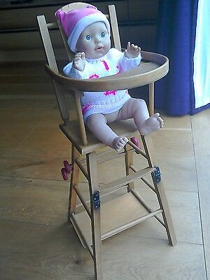 vintage wooden dolls high chair 1950/60's?