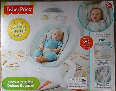 Fisher Price Sweet Surroundings Deluxe Baby Bouncer Chair ~ NEW Vibrate Music