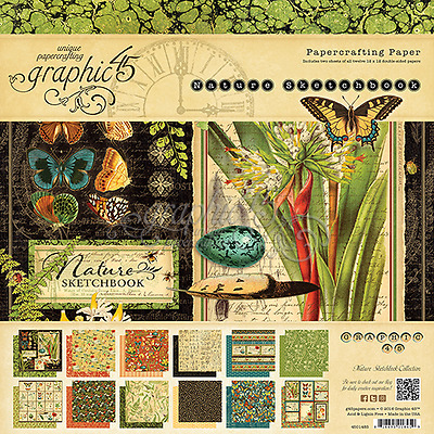 """45014845 Graphic 45's """"Natures Sletchbook """" 12""""x12 24  ds page card stock pad"""