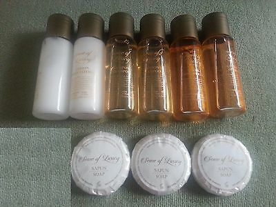 9x SENSE OF LUXURY shampoo, shower gel, body lotion, soap NEW hotel spa travel