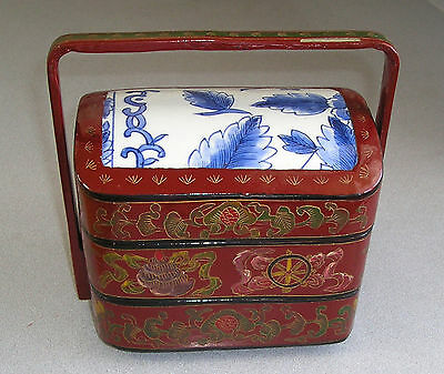 Vintage Asian 2 drawer Stacking  Laquer Box Blue and White Shard Insert
