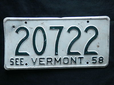 1958 Vermont License Plate   20722