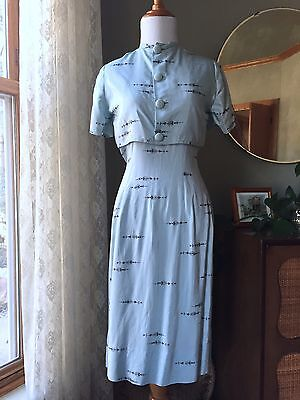 50s Dress Set Sky Blue Silk Novelty Print Dress Jacket Set Vintage 1950s Sheath