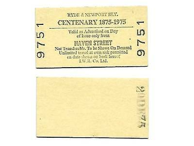 Ryde & Newport Railway Centenary Ticket issued on 20 December 1975 Haven Street