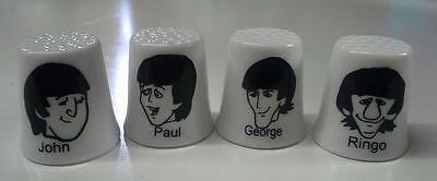 Set of 4 The Beatles Cartoon Collectible Porcelain Thimbles