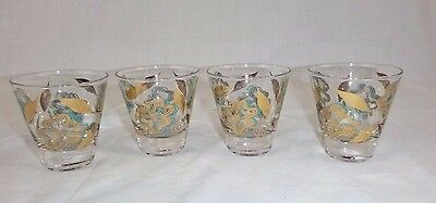 4 Vtg Mid Century Tapered Double Shot Glasses Aimee Gold Turquoise Floral Motif