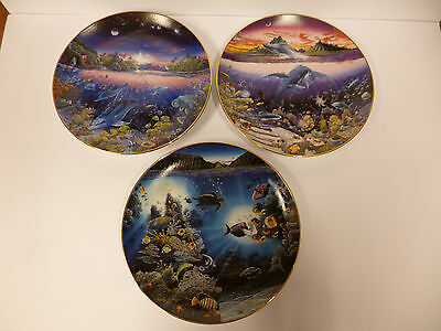 3 Danbury Mint Porcelain Plates in the 'Underwater Paradise Collection'