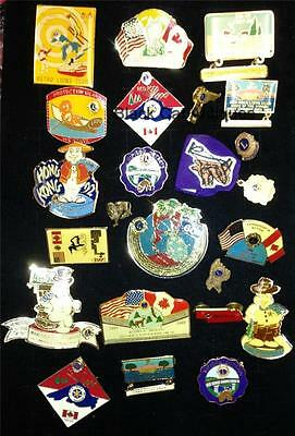Lions Club pinbacks LOT of  23, up to 2 1/4 inches across 1961-2002 VINTAGE