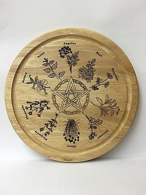 Handcrafted Wooden Kitchen Board with Pentagram and Herbs ~ Pagan ~ Wicca