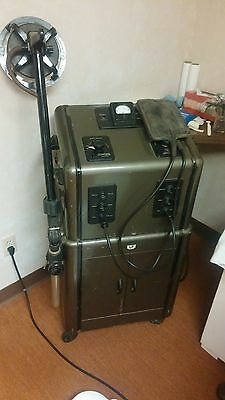 Antique Vintage 1949 Diathermy Unit with Manual and Rolling Cabinet Stand.