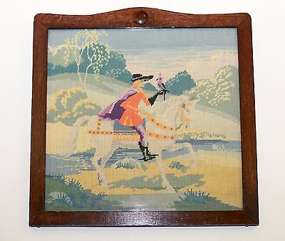 Vintage Needlepoint complete Tapestry in Wooden Frame~Period man on horse & bird