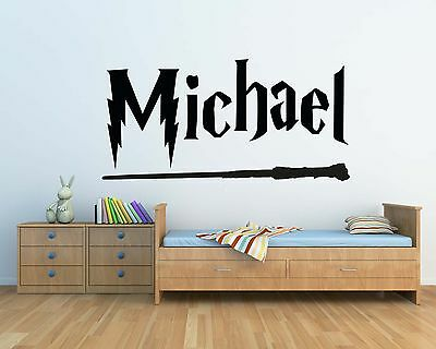 Harry Potter Style Personalised Wand Wall Decal Sticker Kids Bedroom