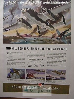 RARE 1943 Esquire Advertisement AD WWII NORTH AMERICAN AVIATION MITCHELL BOMBERS