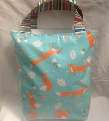 Handmade Oilcloth Lined Tote Bag - Foxes So Pretty