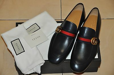 25f9417fc09 AUTHENTIC NEW MEN S Gucci Dark Blue Leather Loafer with GG Web ...