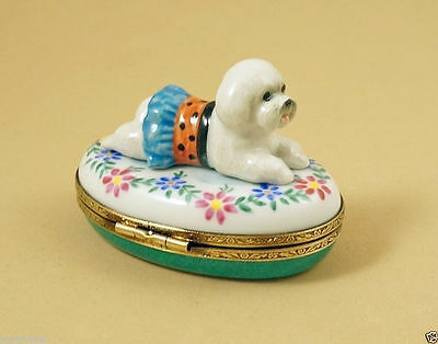New French Limoges Trinket Box  Cute Bichon Frise Dog Puppy On Flowers