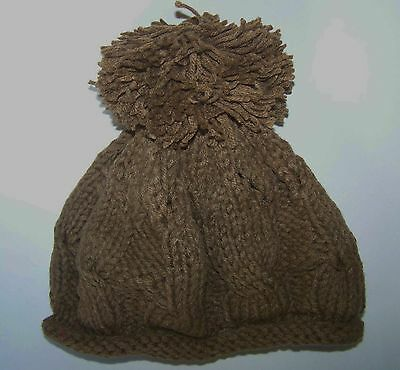 Ladies Women Brown Knitted Bobble Hat With Brown Pom Pom New Chunky Warm Fashion
