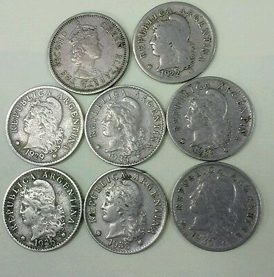 5 argentina 5 centavos 1922 1936 1935 1939,1938 and 1964 10 cent Caribbean coin