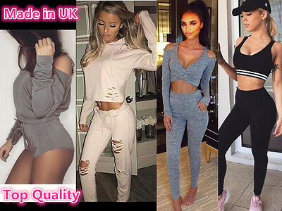 Womens Jogging Set Off Shoulder Cut Loungewear Sport Legging Shorts Track Suit