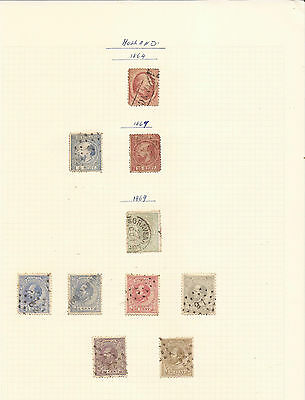 NETHERLANDS. 1864 – 1930's. SIX SHEETS OF MINT & USED STAMPS.