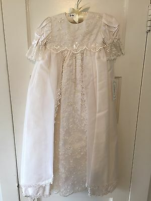 Cassini Georgiana Christening Gown, 100% Silk, Embroidered, Lace, Baptism Gown