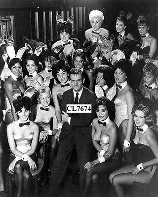 Hugh Hefner Poses with a Bevy of Bunny Girls at the Playboy Club Photo