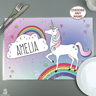 PERSONALISED Childrens Placemat - UNICORN. Childs, Kids, GIRLS. Table Saver Mat