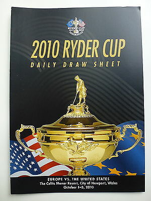 Ryder Cup 2010 Celtic Manor Draw Sheet Day 4 *rare*
