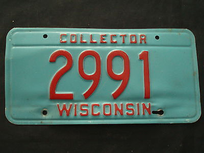 Wisconsin Collector License Plate   2991