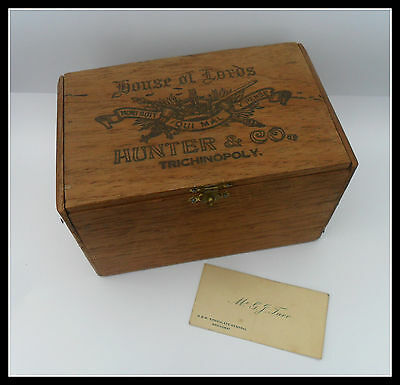 Rare Hunter & Co ....house Of Lords  Cigar Box -  Trichinopoly Indian Hand Made