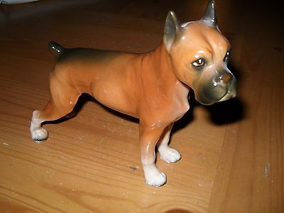 Large Porcelain Boxer Dog Figurine 6 1/2 inches tall Adorable