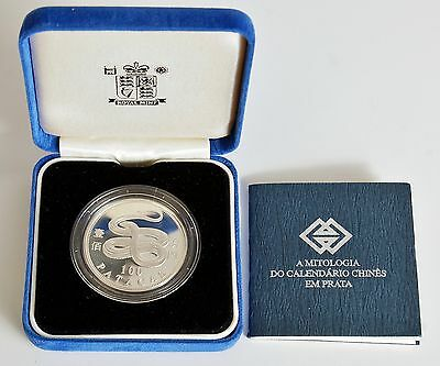 2001 Macau Year of the Snake 100 Patacas Silver Proof Coin w/COA & Box (LV#301)